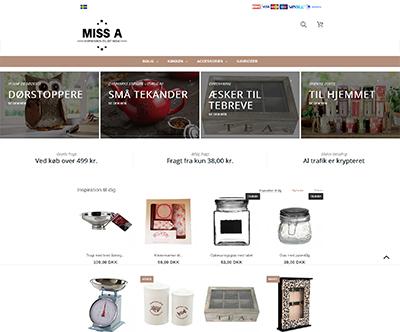 Miss A sælger gaveartikler, tekander, duftpinde, dørstoppere og opbevaring af tebreve